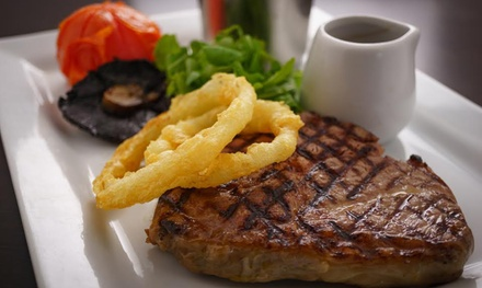 10oz RibEye Steak Meal with a Glass of Wine for Two or Four at The Waterfront Restaurant Bar Terrace