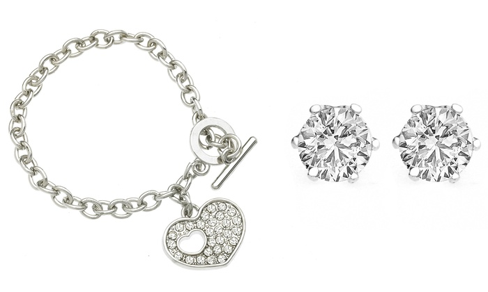 KENTS JEWELRY INC: Heart Charm Toggle Bracelet and Round Studs with Swarovski Crystals (2-Piece)