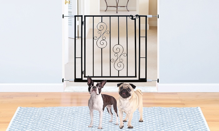 Pressure Mounted Metal Pet Gate With Scroll Motif And Door Groupon