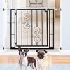 Pressure-Mounted Metal Pet Gate with Scroll Motif and Door
