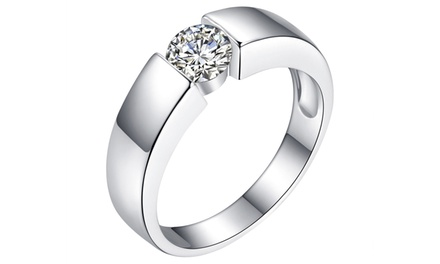 Crystal Solitaire Ring in Choice of Size