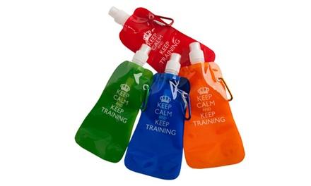 Botella plegable deportiva con mosquetón