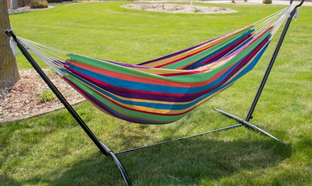 Backyard Expressions 9ft Double Cotton Hammock w/Stand & Carry Bag
