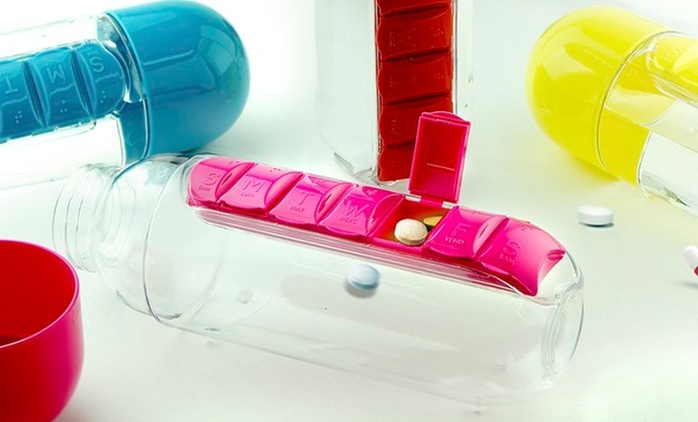$16 for a Water Bottle with Built-In Seven-Day Pill Organiser