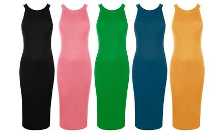 Oops Plain Ribbed Sleeveless Bodycon Midi Dress