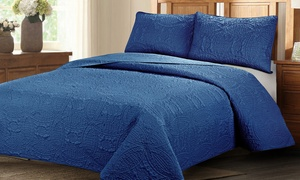 Geometric Reversible Oversized Bedspread Coverlet Quilt Set (3-Piece)