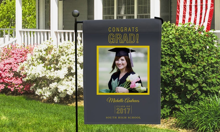 Personalized graduation garden flag garden inspiration for Gardening 4 less groupon