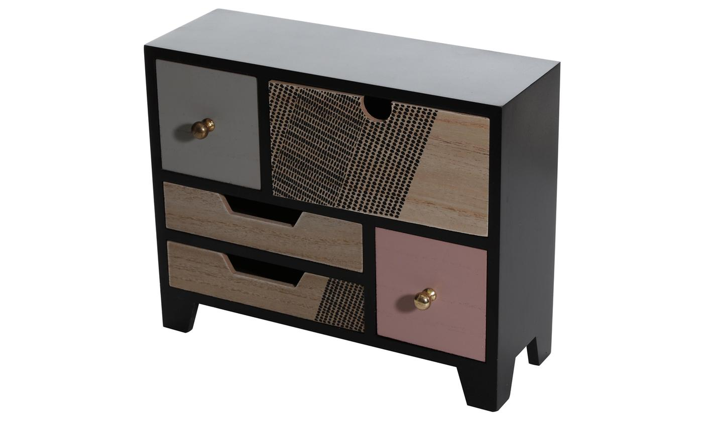 Black and Gold Mini Wooden Dresser Jewellery Storage