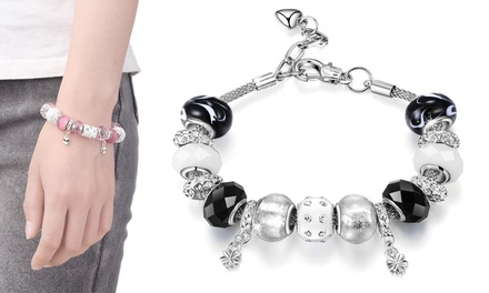 One or Two Philip Jones MuranoGlass Charm Bracelets with Crystals from Swarovski®