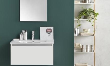 Arredo bagno moderno mobile sospeso con lavabo in porcellana cm