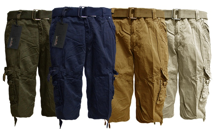 Lee Hanton Men's Casual Cargo Shorts with Canvas Belt
