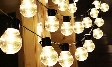 Outdoor Bistro Solar Powered Globe String Lights Groupon