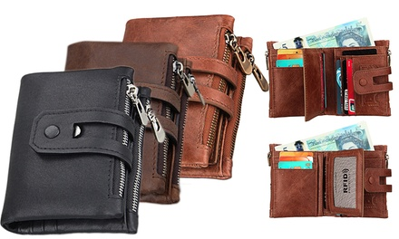 One, Two or Three Tri-Fold Leather Wallets