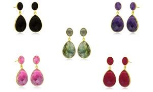 12.00 Cttw Pear Shaped Gemstone Dangle Earrings