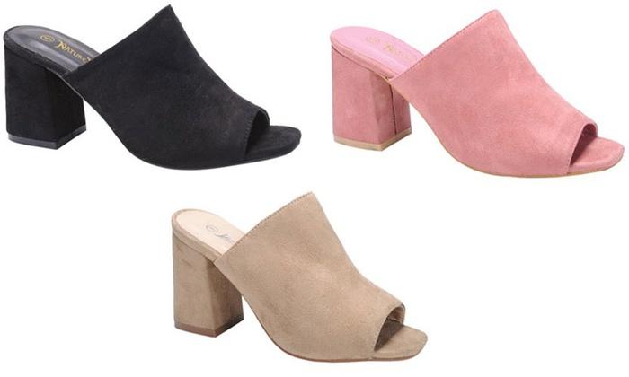 113d474df38 Mata Women s Faux Suede Chunky Heel Mule Shoes