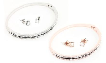 Trinityset: armband en oorbellen versierd met kristallen