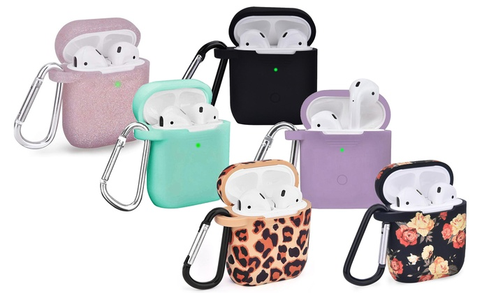 Airpods 1 2 Case Cover With Keychain Carabiner 2 Pc Led