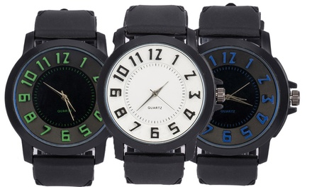 Chris Men's Watch with Silicone Strap