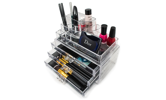Sorbus Acrylic Cosmetics Makeup and Jewelry Storage Case Display