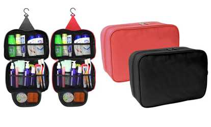 0e92aa07ba3 Shop Groupon Waterproof Toiletry and Cosmetic Organizer Travel Bag with Hook