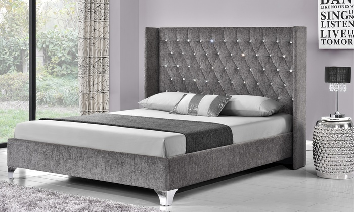 Drogo Diamante Button Wingback Bed Frame with Optional Mattress