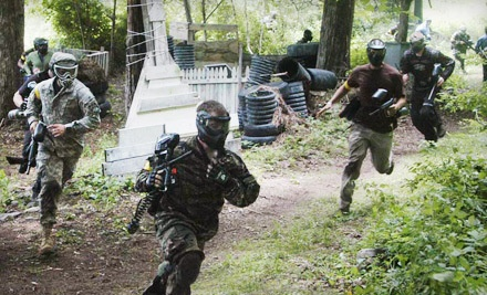 2 All-Day Passes; 2 All-Day Mask, Marker, and Barrel Cover Rentals; Unlimited Air; and 500 Paintballs for 2 (an $84 value) - Yankee Paintball in Oxford