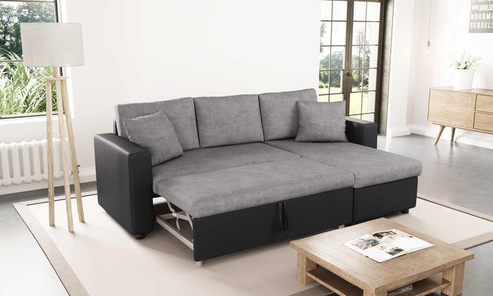groupon goods global gmbh canap convertible en lit duke ou maria 4 places avec - Canape Convertible Coffre De Rangement