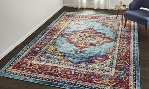 Medallion Stain Resistant Frise Area Rugs (Various Sizes)