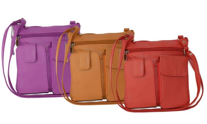 AFONiE Genuine Leather Multi-Pocket Crossbody Purse Bag