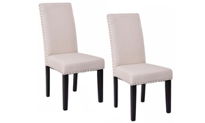 Fabric-Upholstered Armless Dining Chairs Set (2-Pack)