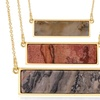 Gemstone Bar Necklace in 18K Yellow Gold Plating