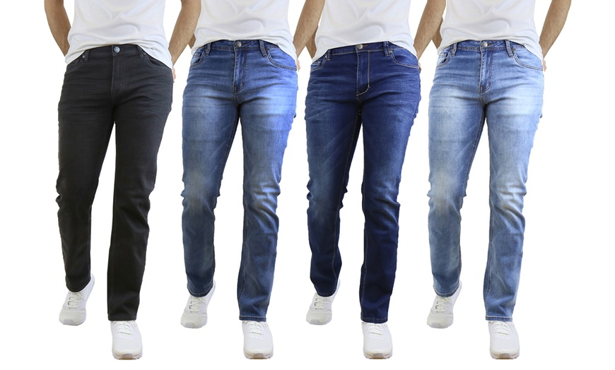 3-Pack Men's Washed Straight Leg Stretch Jeans (Size 30-40) | Groupon