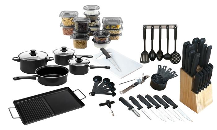 Kitchen and cookware starter set 79 piece groupon for Kuchen starterset
