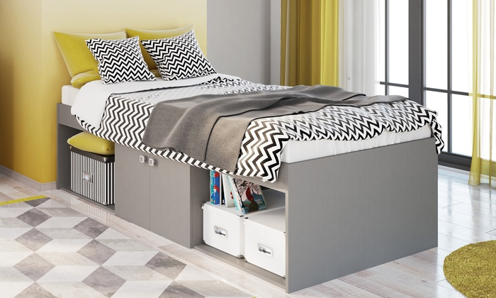 Low Or Four-Drawer Cabin Single Bed with Storage and Optional Mattress