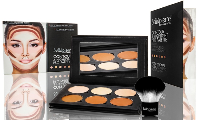 BellaPierre Cosmetics Contour & Highlight Palette with Optional Kabuki Brush