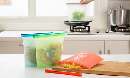 Durable and Reusable Silicone Food Storage Airtight Bags: Four $25 or Eight $39