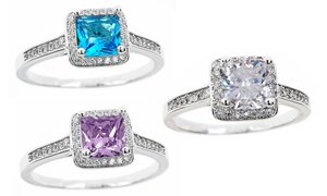 Cubic Zirconia Princess Cut Birthstone Halo Rings by Mina Bloom