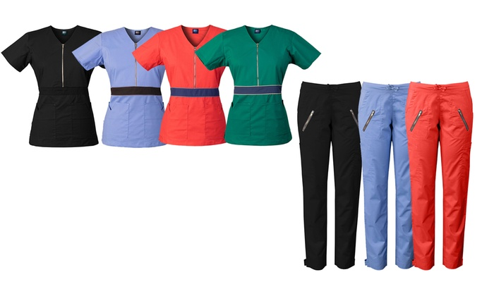 cb6a4f06f47 Medgear Women's Stretch Scrub Set with Color-Block Waistband