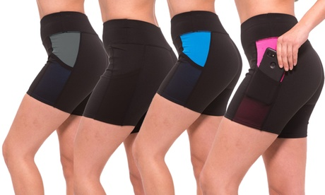 Women's Workout Activewear Shorts with Mesh Inserts (4-Pack) 2faaf166-71f7-49a3-8bae-d998028b23aa