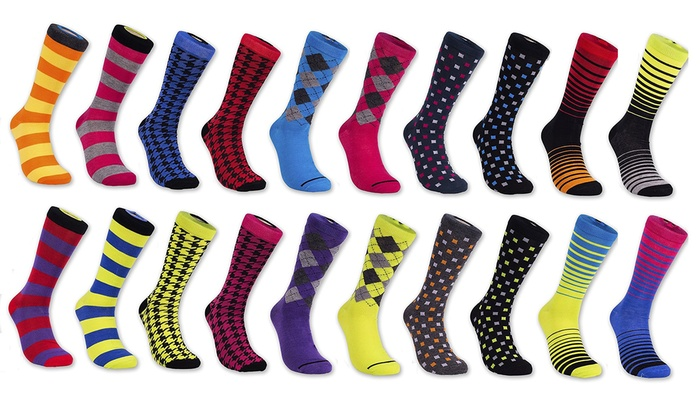 Groupon Goods: 12 Pairs of Men's Patterned Dress Socks from Beverly Hills Polo Club (Shipping Included)