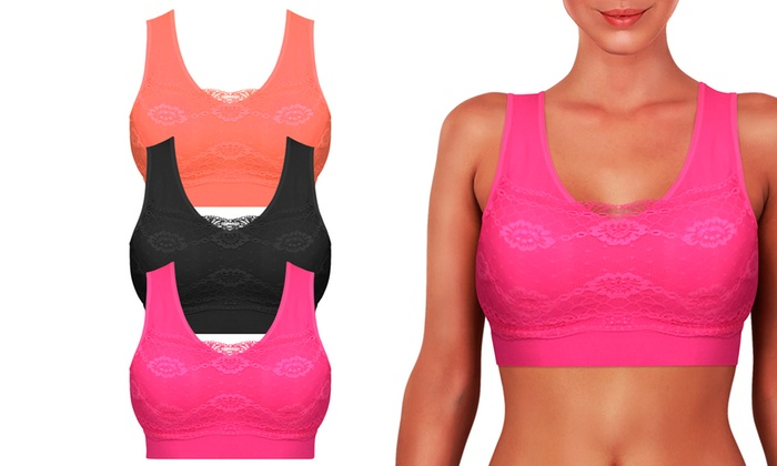 Padded Push-Up Full-Coverage Wire-Free Sports Bra with Lace Overlay (3-Pack)