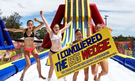6 Slides on The Big Wedgie $16 or 1 Hr on The Just Right or The Little Wedgie $19, Three Locations Up to $30 Value