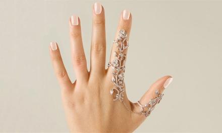 1 o 2 joyas para la mano con cadenas y anillos adornados con cristales
