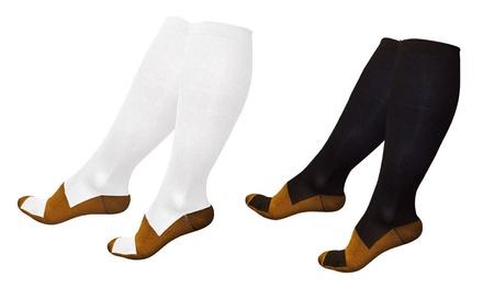 1 o 2 pares de calcetines de compresión con tela de infusión de cobre para mejorar la circulación sanguínea