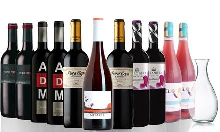 Lote de 11 botellas de vino tinto y rosado D.O. Rioja con un decantador de cristal (envío gratuito)
