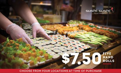 $7.50 for Five Sushi Hand Rolls at Sushi Sushi, Four Locations (Up to $18.50 Value)
