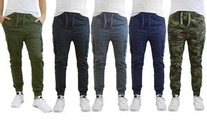 Men's Stretch Cotton-Blend Slim Fit Cargo Jogger Pants (2-Pack)