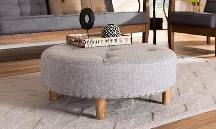 Baxton Studio Vinet Fabric-Upholstered Cocktail Ottoman