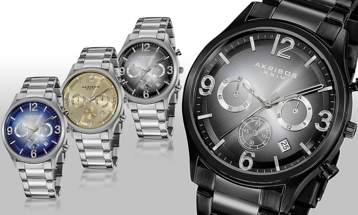 Akribos xxiv men s watch groupon goods for Gradient dial watch