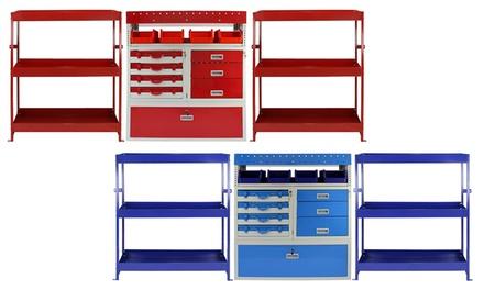 1 of 2 metalen gereedschapskasten voor in een bestelwagen